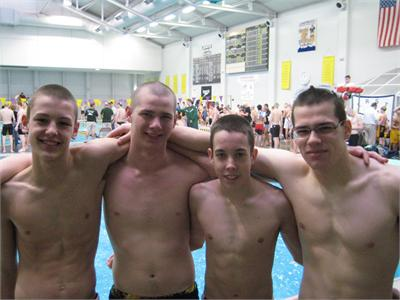 (Aidan Burton -11, Jake Bolton - 10, Tommy Petro - 10, and Kevin Bohland - 12) This relay team broke the school record in the 200 Medley at SWC, and then again at Sectionals with a time of 1:47.49, breaking the old record of 1:49.81 set in 2005