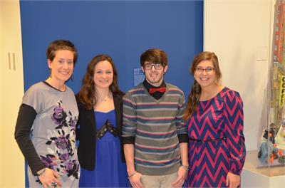 Art Teacher, Mariel Krakowiak with students Kate Ferster, Josh Musial, and Jordan Rieke