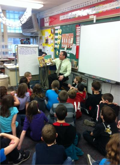 Superintendent Dr. Todd Hoadley reads to Mrs. Masco's class