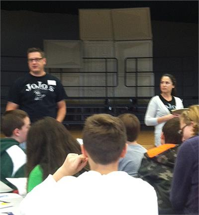 John and Jennifer Minkiewicz, owners of Jo Jo's Italian Restaurant and Pizzeria, talk to sixth graders about entrepreneurship.