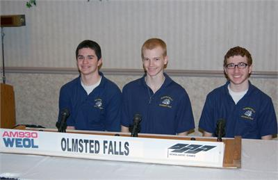 The Olmsted Falls High School academic team including, left to right, Xavier Rivera, Andy Nageotte, and Zach Buchta, was heard on the April 14th broadcast of the High School Scholastic Games quiz program on WEOL (AM 930).
