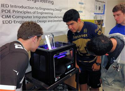 Polaris Career Center provides the class a Makerbot 3D printer, which  allows students to make prototypes of ABS plastic from parts they design using the AutoDesk Inventor solid modeling software.