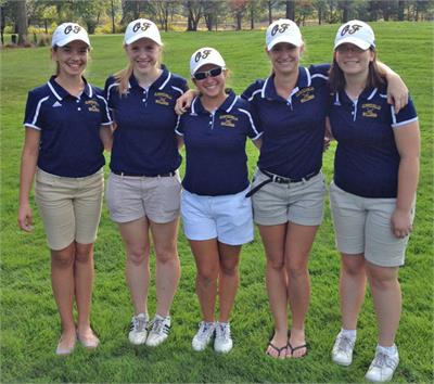 Pictured are varsity golfers, from left,  Abbey Boenig-Dombek, Emily Gerycz, Ashley Gomez, Jessica Bobik and Gabby Zemaitis. The team placed third in the SWC.